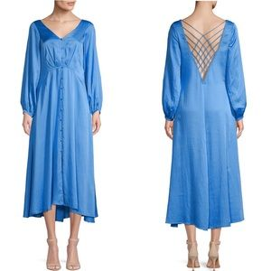 FREE PEOPLE BUTTON DOWN MIDI DRESS NWT BLUE